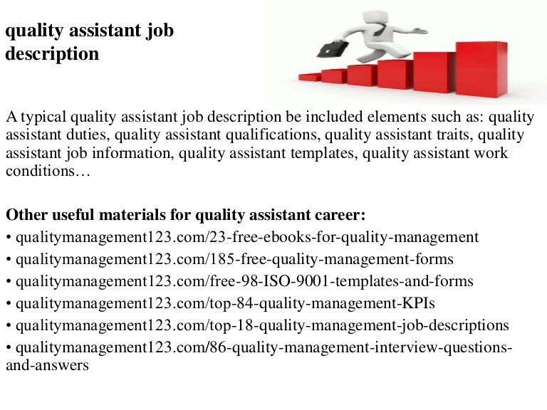 Quality Assistant Job Description