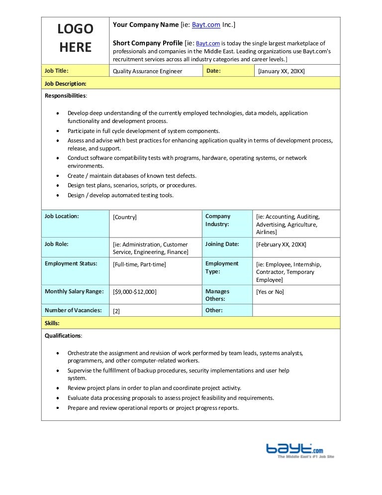 Quality Assurance Engineer Job Description Template By BaytCom