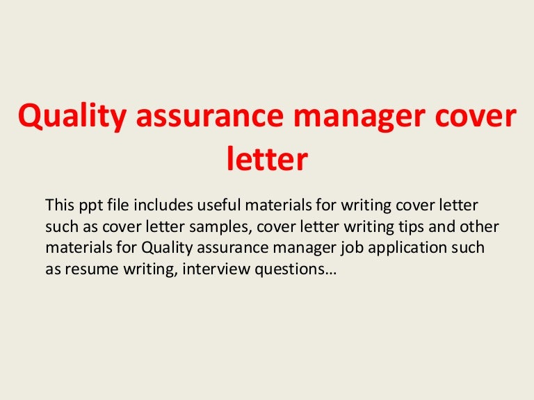 Food Quality Assurance Manager Cover Letter - Quality ...