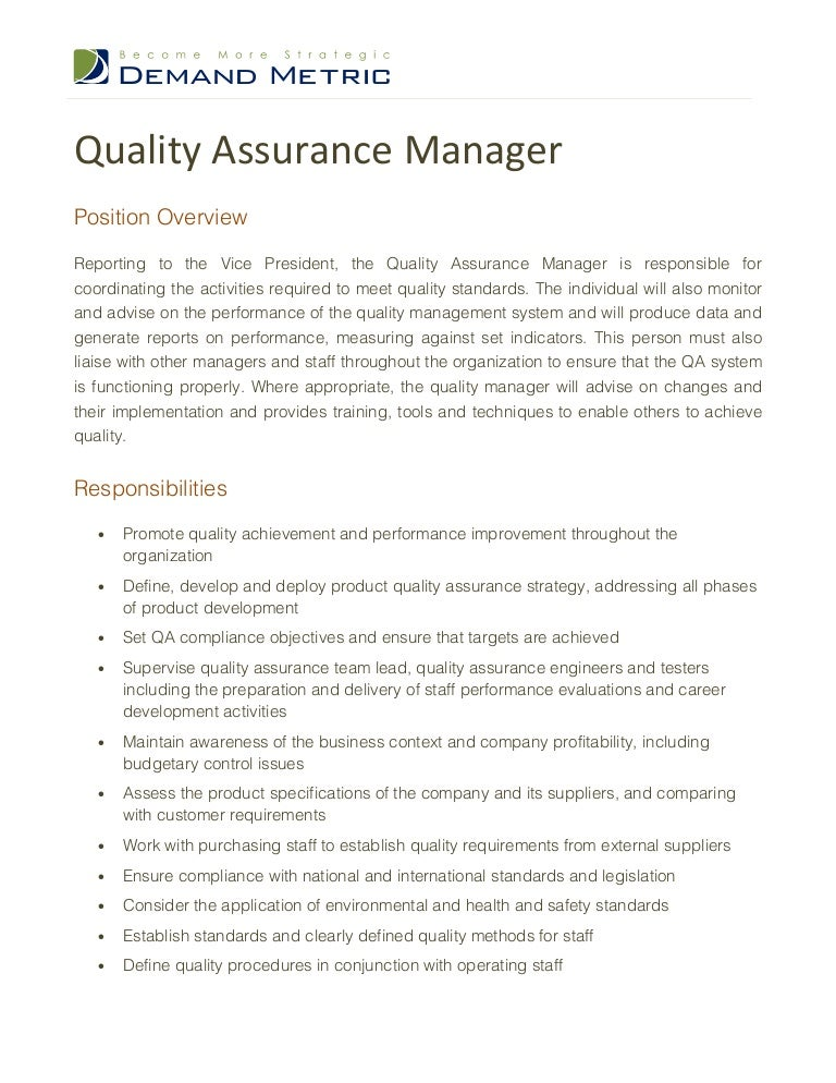 quality assurance manager job description - Qa Resume Sample