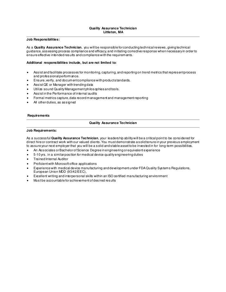 Quality Assurance Technician Job Description - Quality Assurance Technician Job Description