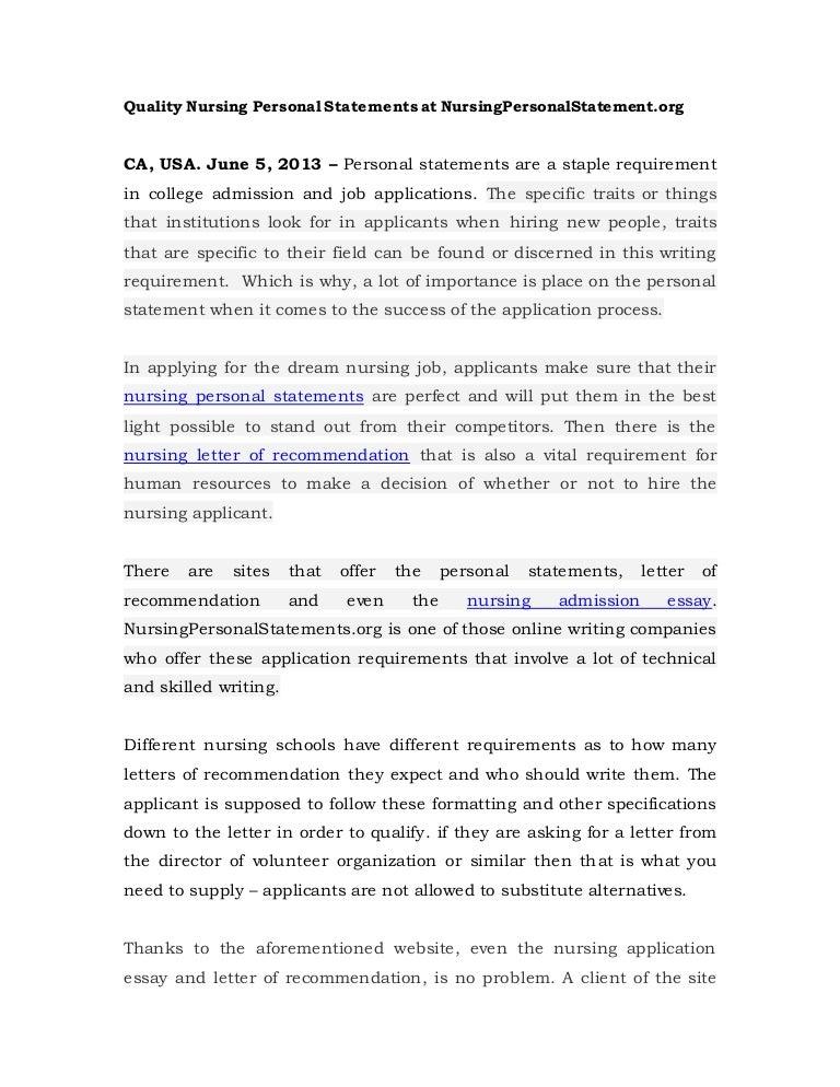 quality nursing personal statements at nursing personalstatement