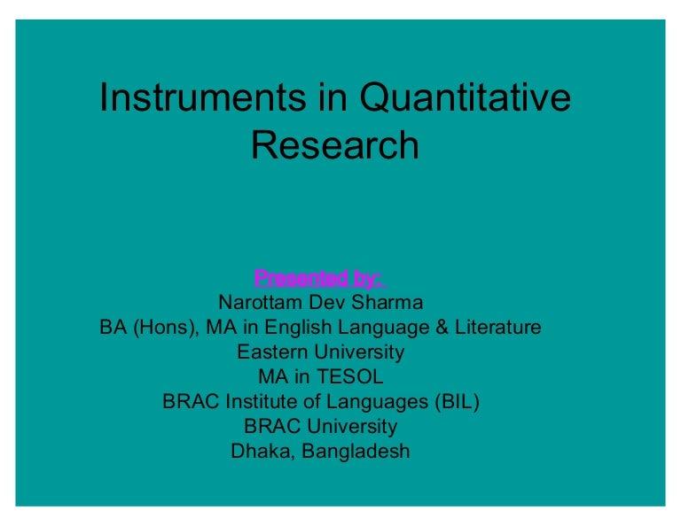 quantitative research instruments