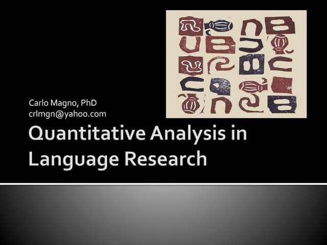 Quantitative analysis in language research