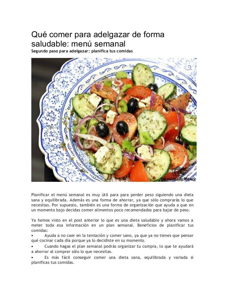 Bajar de peso y comida saludable