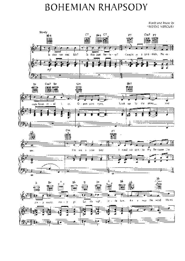 Bohemian rhapsody klaviernoten