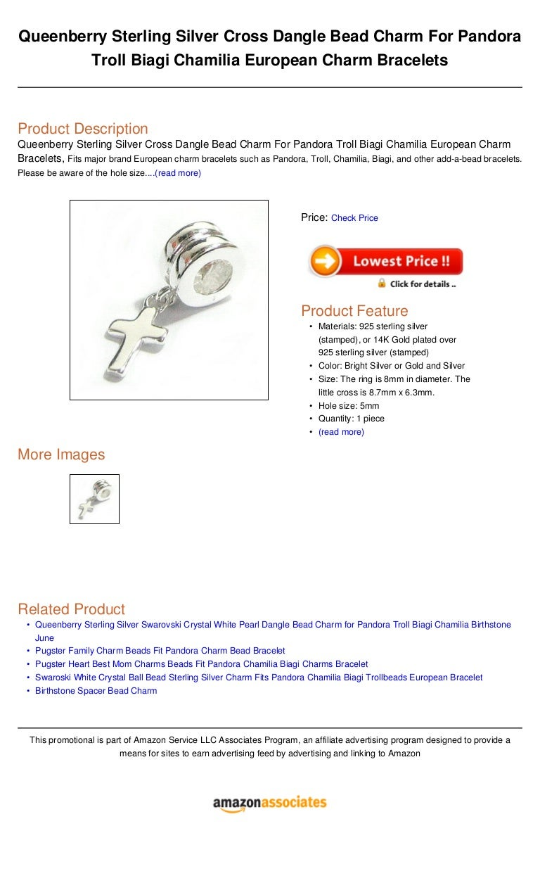 Queenberry Sterling Silver Cross Dangle Bead Charm For Pandora Troll