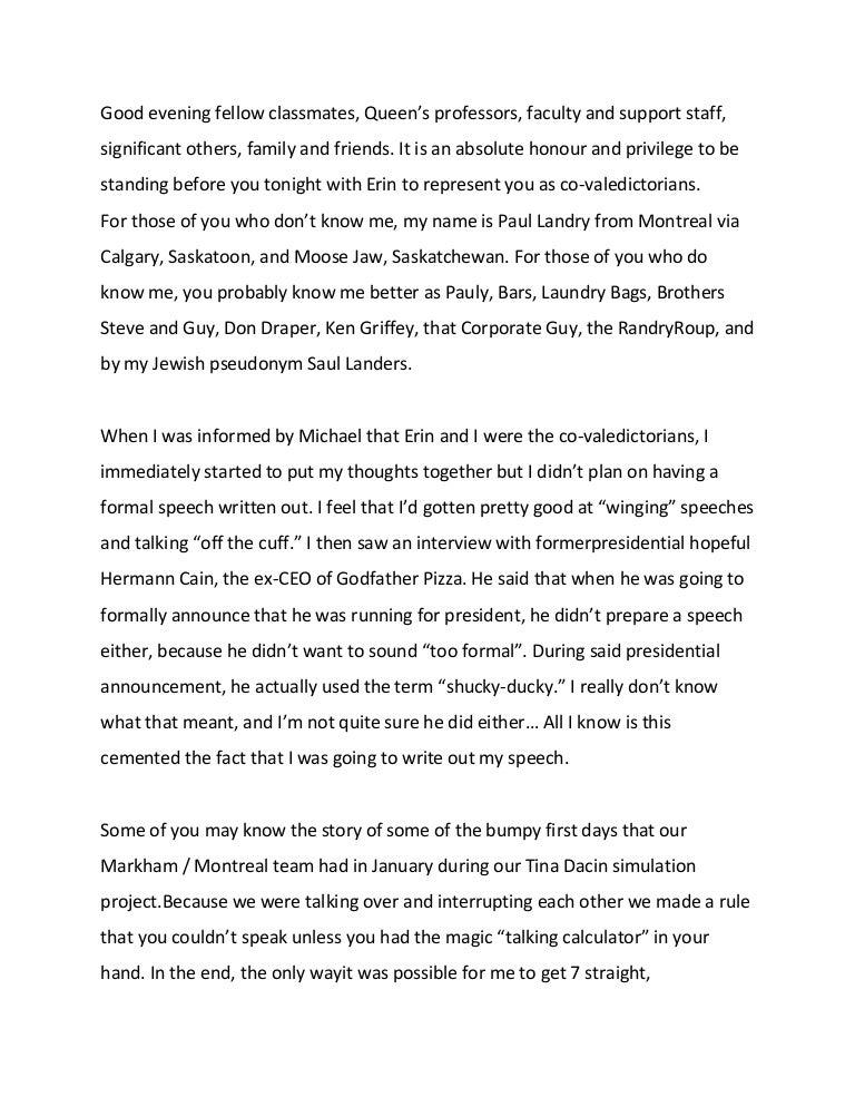 Queens Valedictorian Speech May 2012 – Valedictorian Speech Examples