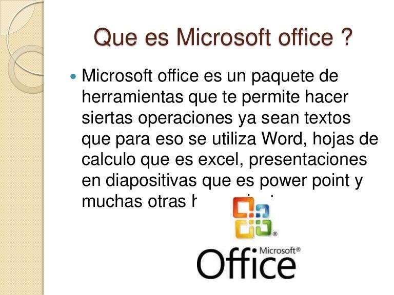 que incluye el paquete microsoft office