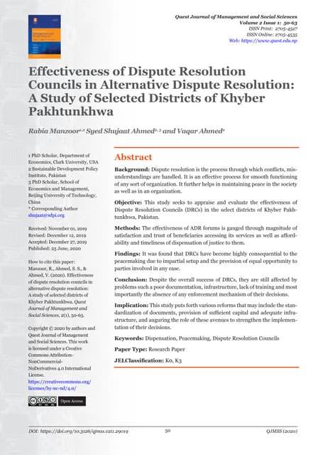 Effectiveness of Alternative Dispute Resolution Mechanisms