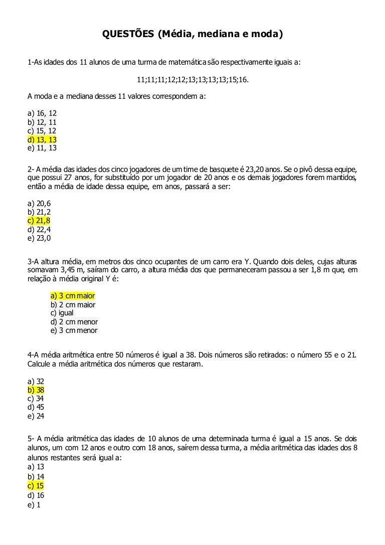 Exercícios de Matemática Equações de Primeiro Grau
