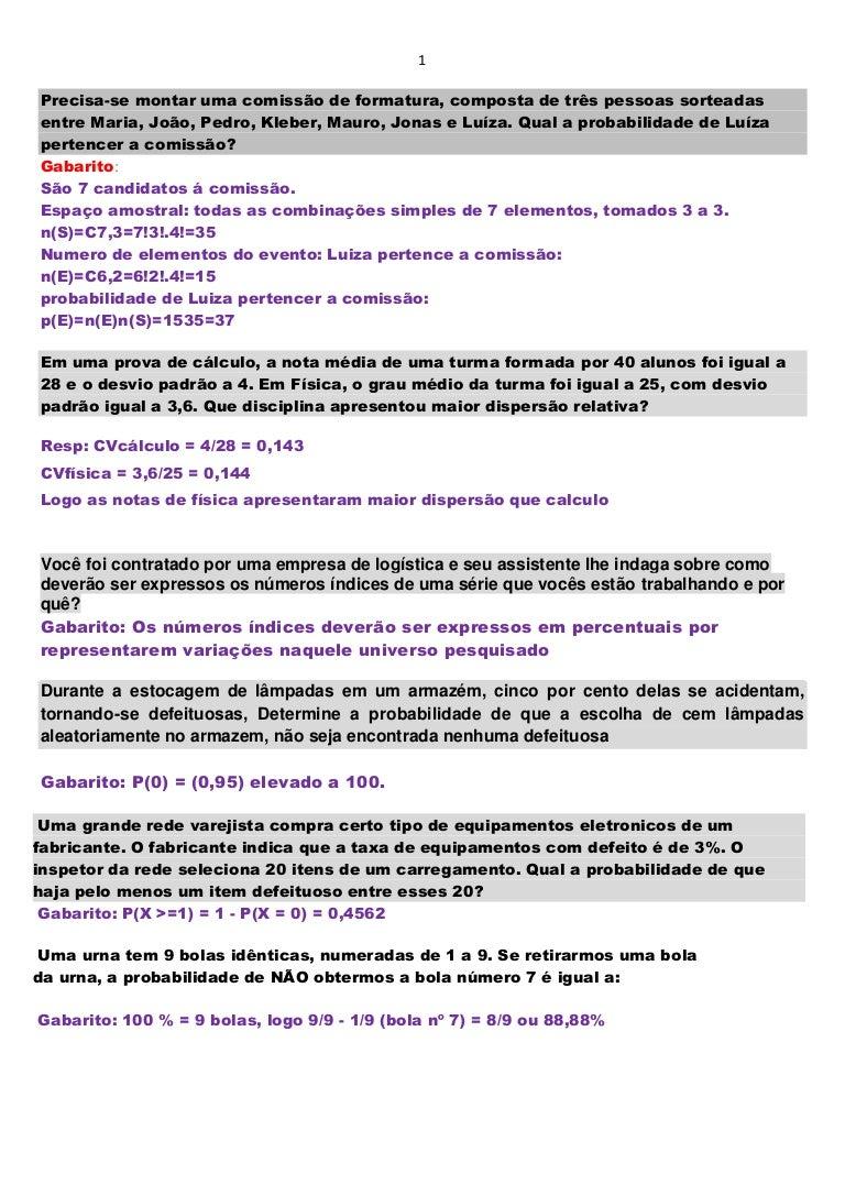 a1eae1c7e Questões de provas e simulados probabilidade e estatística junho 2014