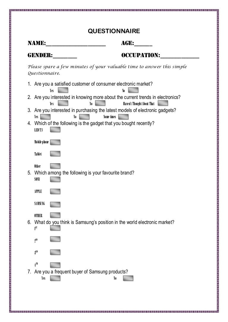 Questionnaire for the survey of electronics market(for school/college…
