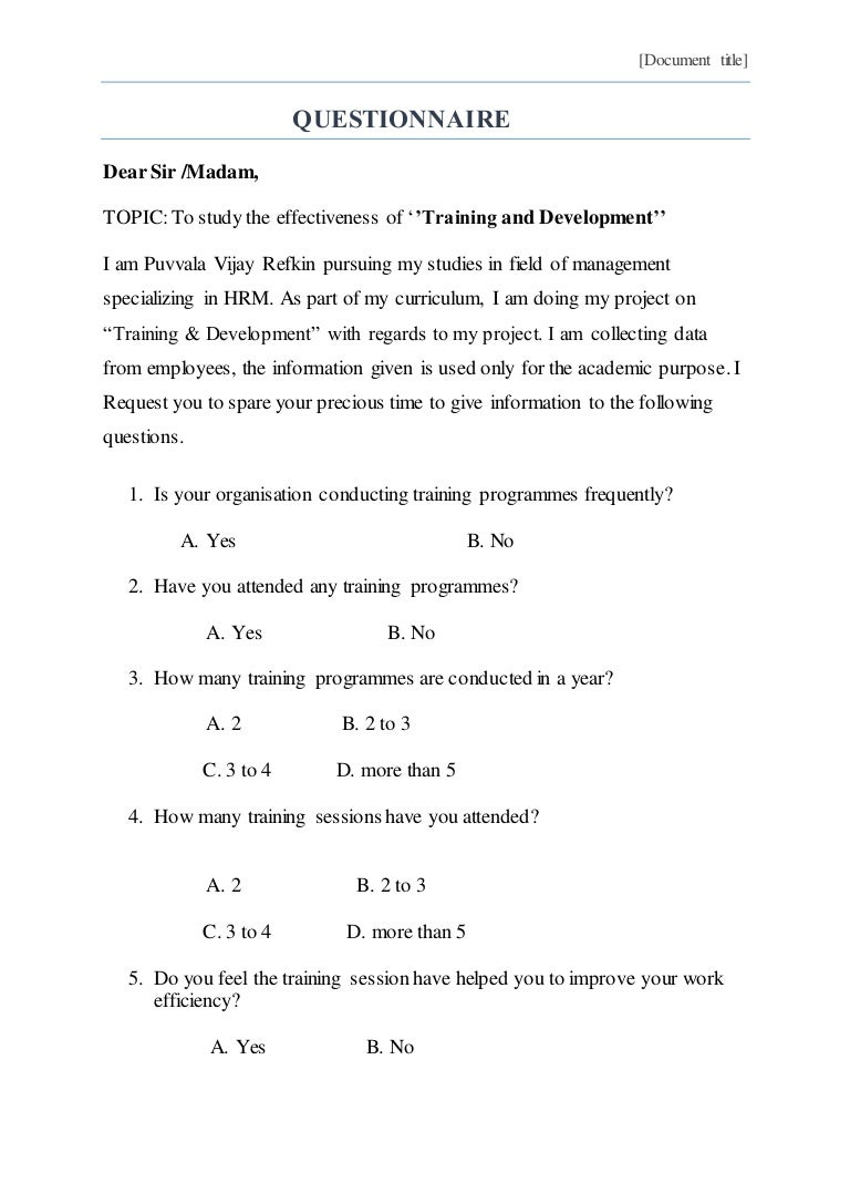 training  u0026 development questionnaire