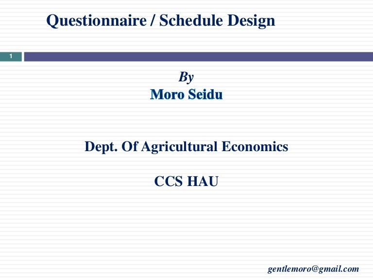 questionnaire and schedules design