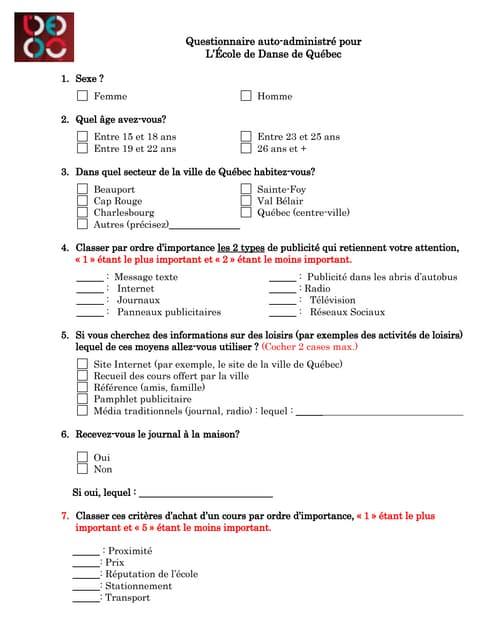 Exemple questionnaire - Vente de bijoux