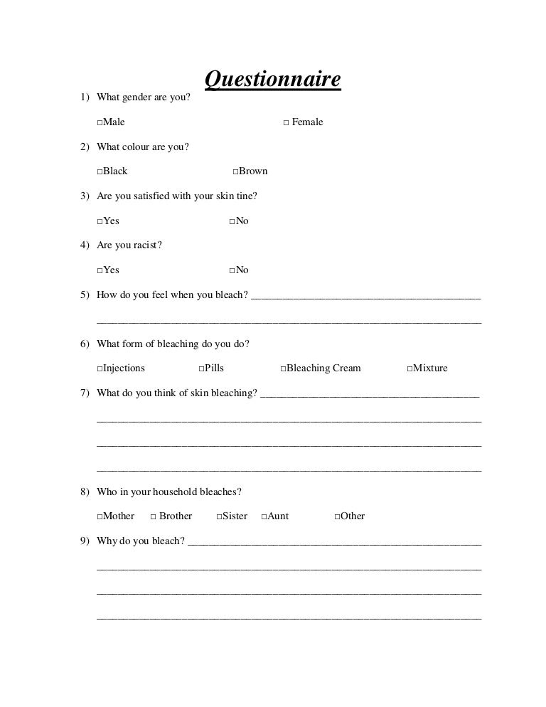 Questionnaire For Skin Bleaching