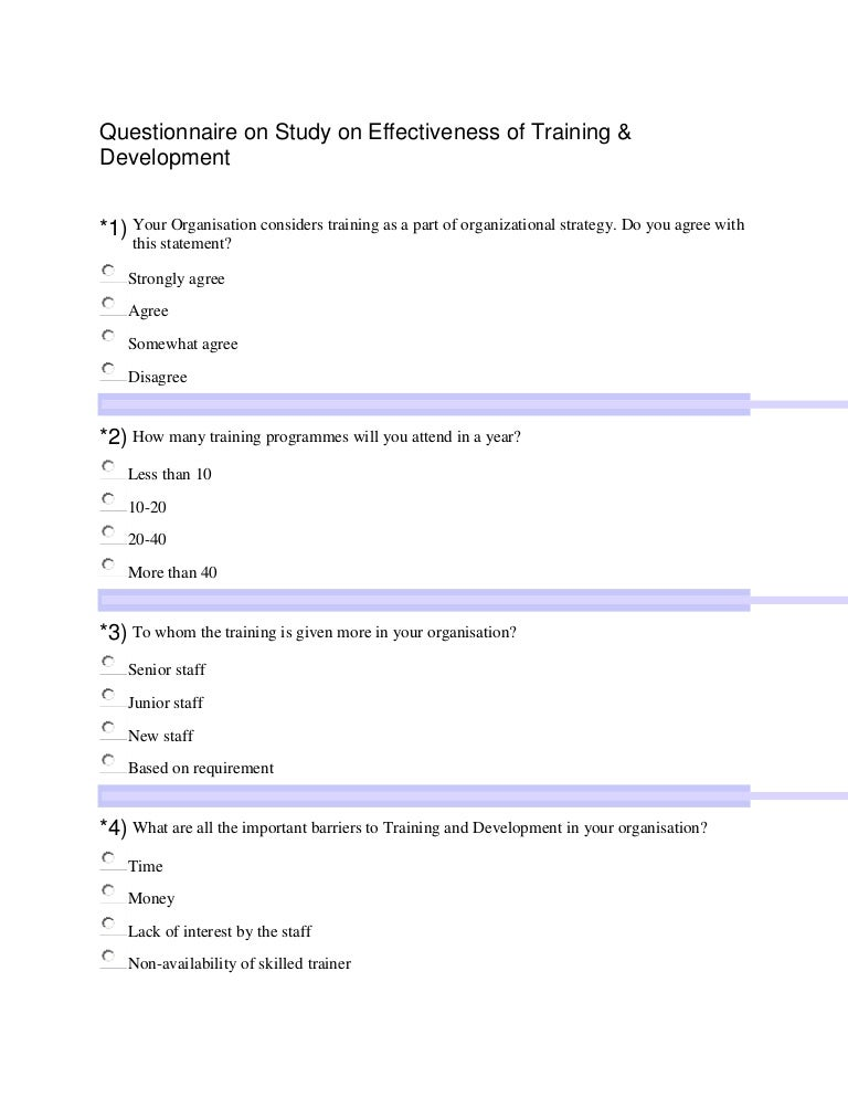 Questionnaire on training for Job rotation program template