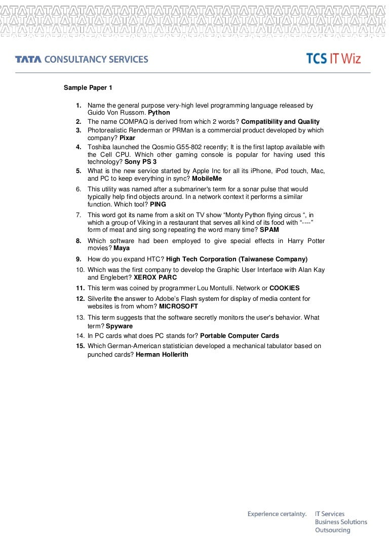 Tcs Placement Paper 2014 Pdf