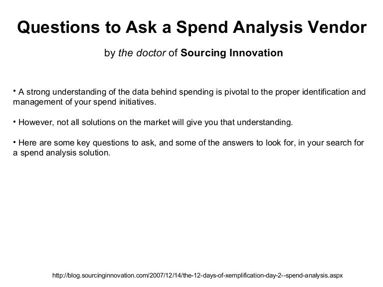 Questions To Ask A Spend Analysis Vendor