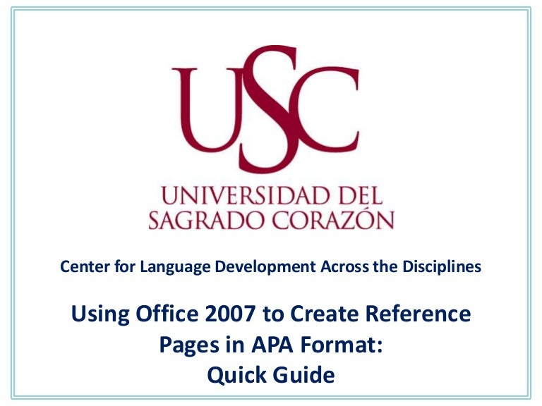 quick guide apa style office 2007
