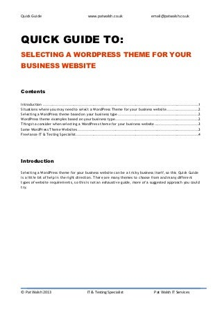 Quick Guide to selecting a WordPress Theme for your Business Website