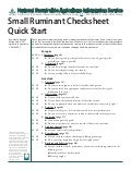 Small Ruminant Checksheet Quick Start