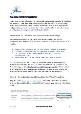 Quick start website manually installing word press pdf