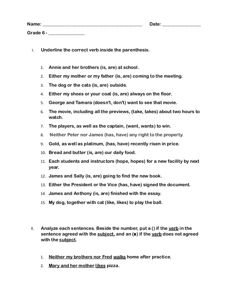 photo regarding Subject Verb Agreement Quiz Printable titled Quiz (quality 6) : Make a difference Verb Settlement