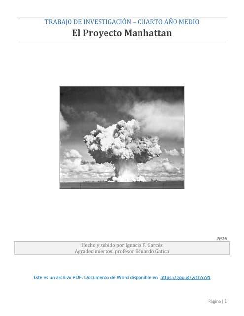 Historia 4° medio - El Proyecto Manhattan