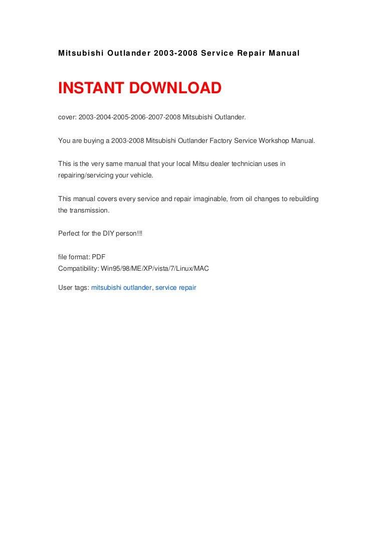 mitsubishi outlander 2003 2008 service repair manual rh slideshare net 2014 Mitsubishi Outlander 2015 Mitsubishi Outlander