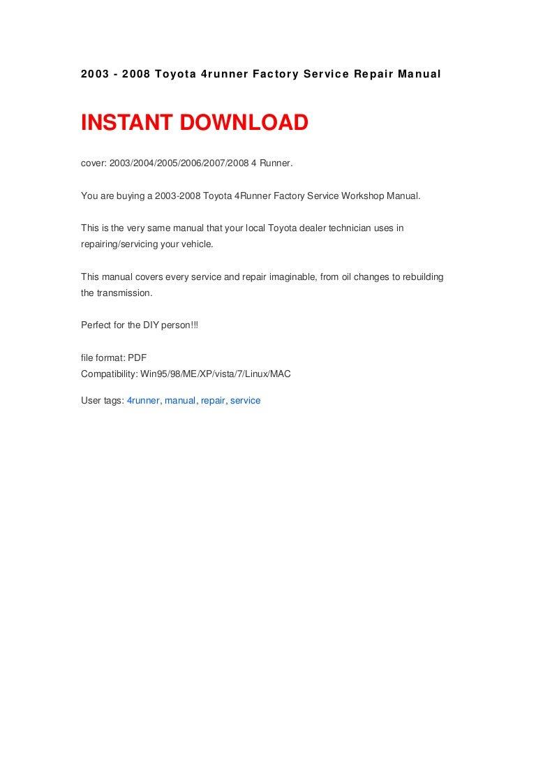 2003 2008 toyota 4runner factory service repair manual rh slideshare net 2010 toyota 4runner service manual 2007 toyota 4runner service manual pdf