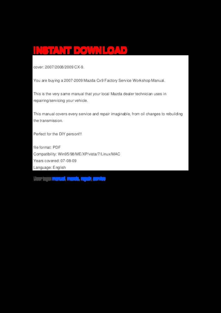 Mazda Cx 9 Factory Service Repair Manual Free User Guide \u2022 Mazda B4000 Fuse  Box