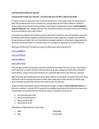 Link Alternatif Tembak Ikan Joker123 - Link Alternatif Joker123 APK - Daftar Betclub168