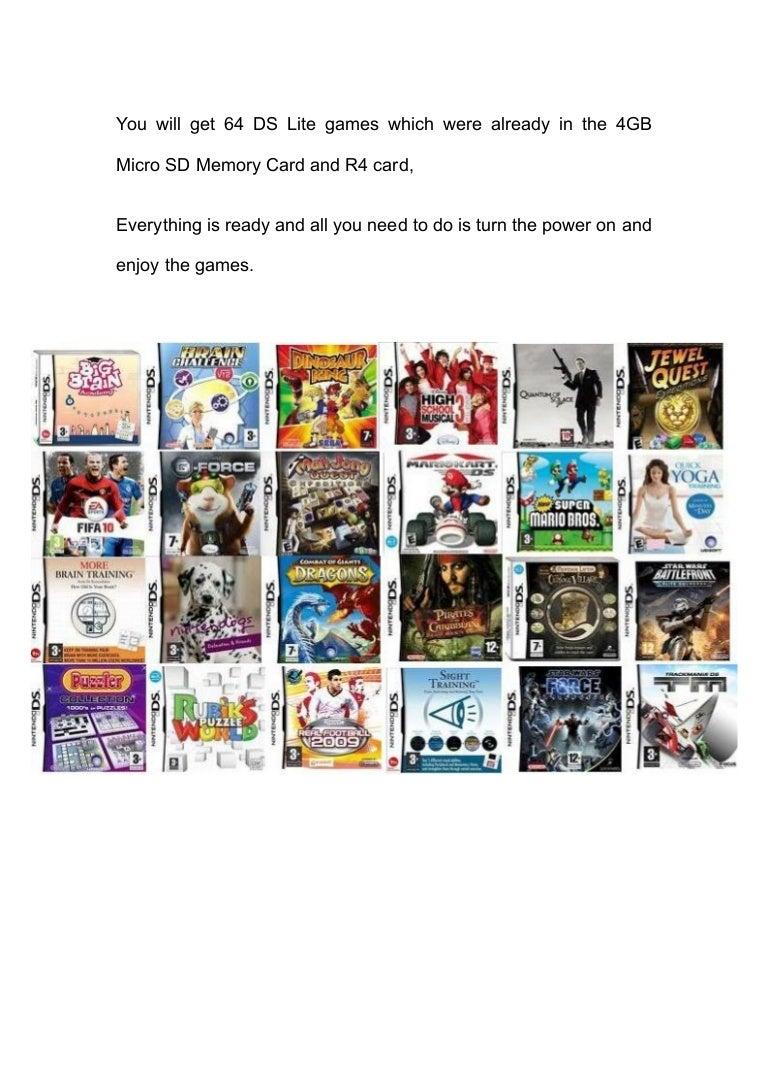carte r4 ds lite R4 Carte + Sd 4 Go + 64 Jeux Gratuits Nintendo Ds Lite