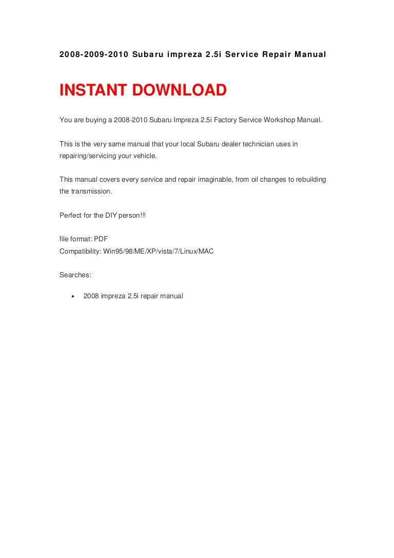 2010 subaru impreza repair manual pdf