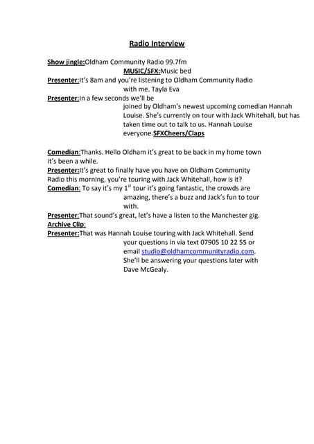 a radio show script for class 9