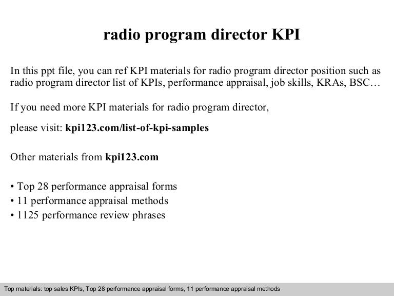 Radio Program Director Kpi