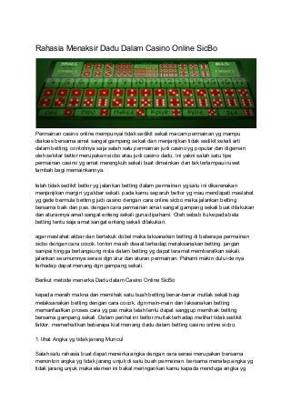 Rahasia menaksir dadu dalam casino online sic bo