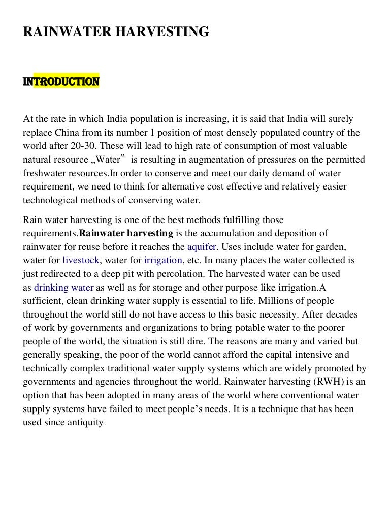 essay about rainwater harvesting in english