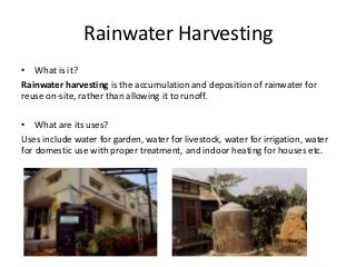 Methods of Rainwater Harvesting, Types of Rural Sanitation and Types of Plumbing Fixtures