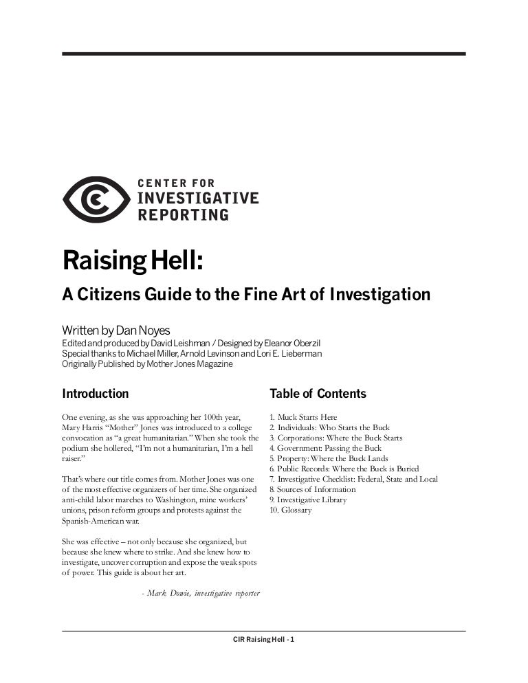 Raising Hell - A Citizens Guide To The Fine Art Of Investigation
