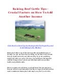 Raising Beef Cattle Tips - Crucial Factors on How To Add Another Income