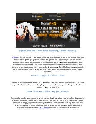 Rajapkv situs pkv games poker domino qq online terpercaya