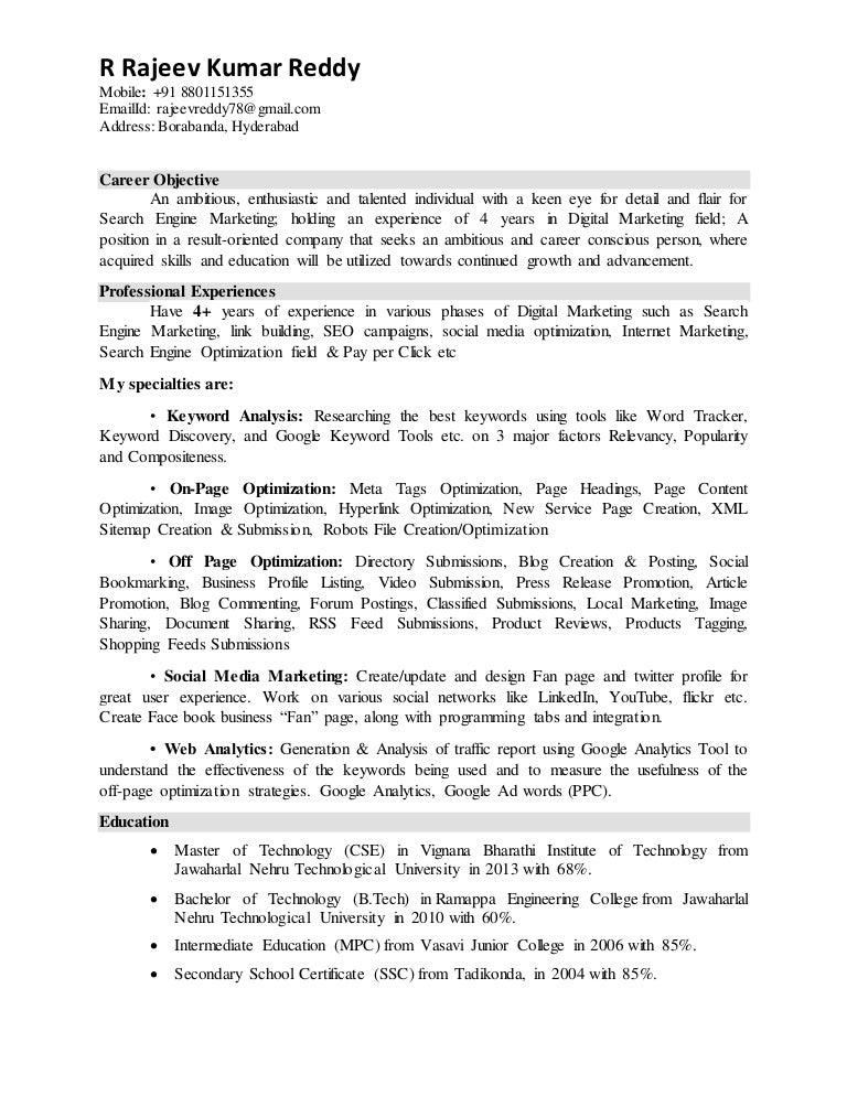 digital marketing resume digital marketing search engine