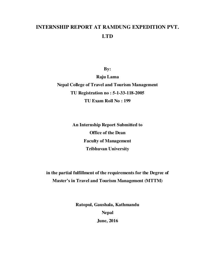 travel agency internship report sample