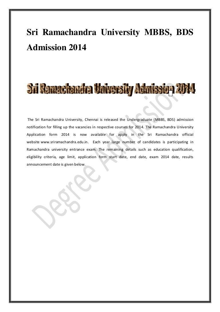 Ramachandra university mbbs bds notification aiddatafo Gallery