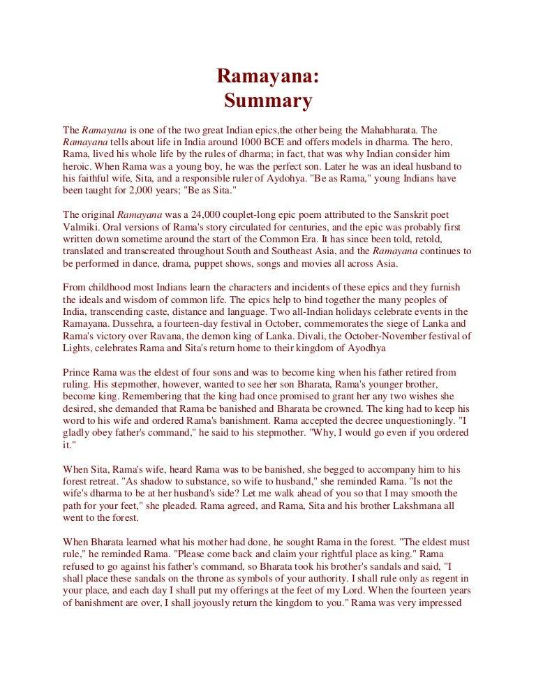 ramayana story in english summary