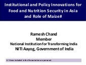Institutional and Policy Innovations for Food and Nutrition Security in Asia and Role of Maize