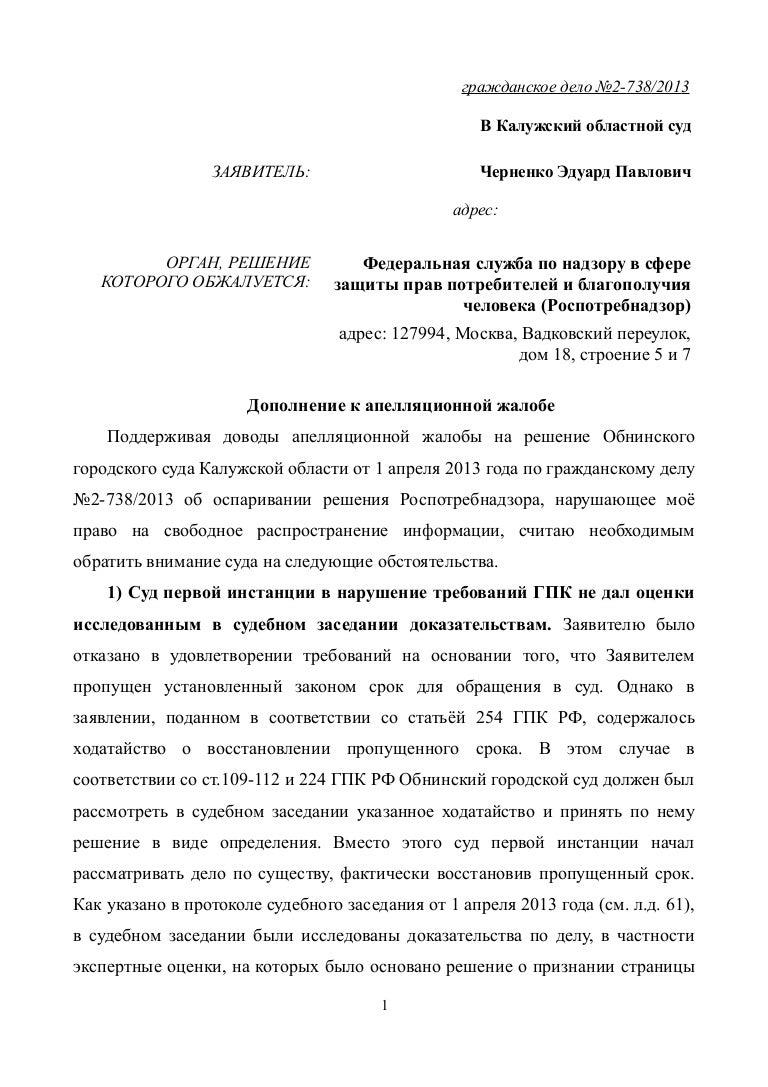 Дополнение к апелляционной жалобе в 2018 году по гражданскому.